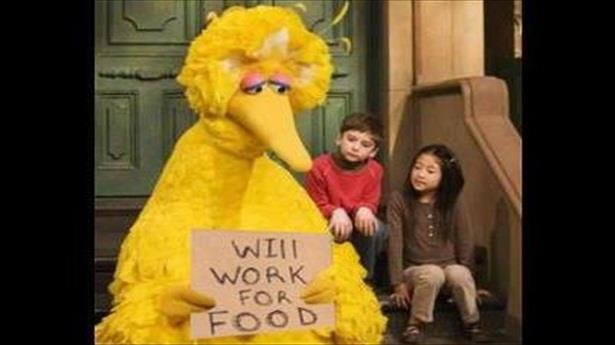 "Picture of Big Bird with Kids and Sign That Reads ""Will Work for Food"""