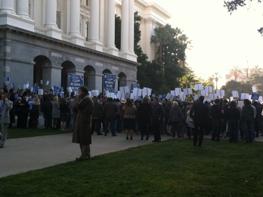 Picture of People at the Capitol in Sacramento for the Water Rally