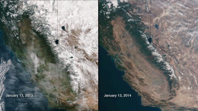 Satllite Photos of California Showing Drought