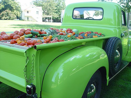 Green Pick-up Truck Loaded with Produce