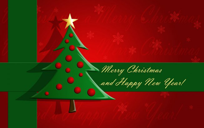 Picture of a Christmas Card That Reads Merry Christmas and Happy New Year!