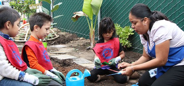 Picture of Children at New Life Head Start in San Diego Working in Garden